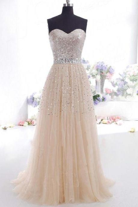 Long Champagne Prom Dresses With Beaded Sweetheart Neckline And Belt