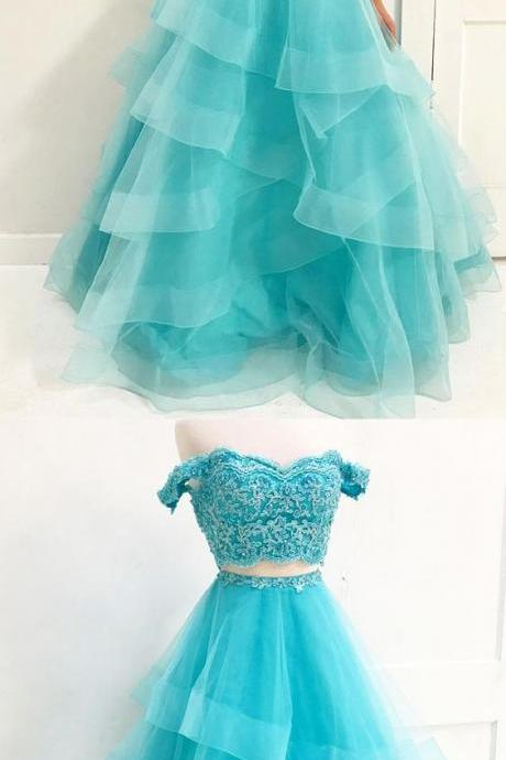 Brilliant Long Blue Evening Dress Featuring Off The Shoulder,2 Piece Prom Dress