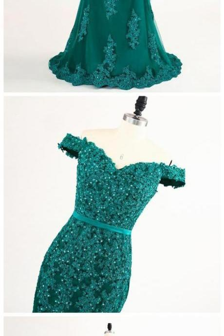 Lace Applique Teal Mermaid Evening Dress Featuring Off The Shoulder,New Long Prom Dresses