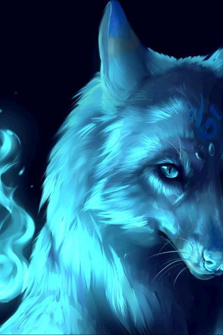 animal diamond painting blue wolf home decoration accessories bedroom decoration