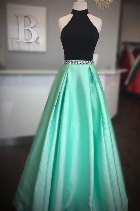 Amazing Halter Neck Prom Dresses A-line Formal Gowns Evening Party Dress