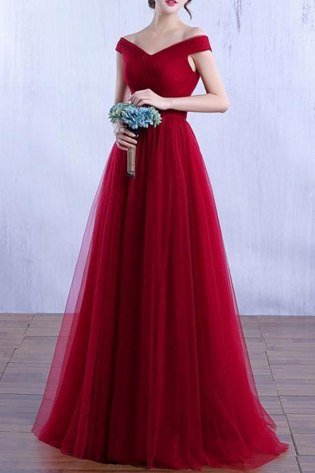 Elegant Long Burgundy Prom Dresses Off The Shoulder Tulle Long A-line Evening Formal Gowns