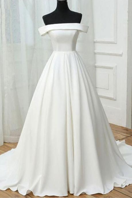 Long White Prom Dresses Boat Neck Long A-line Evening Formal Gowns