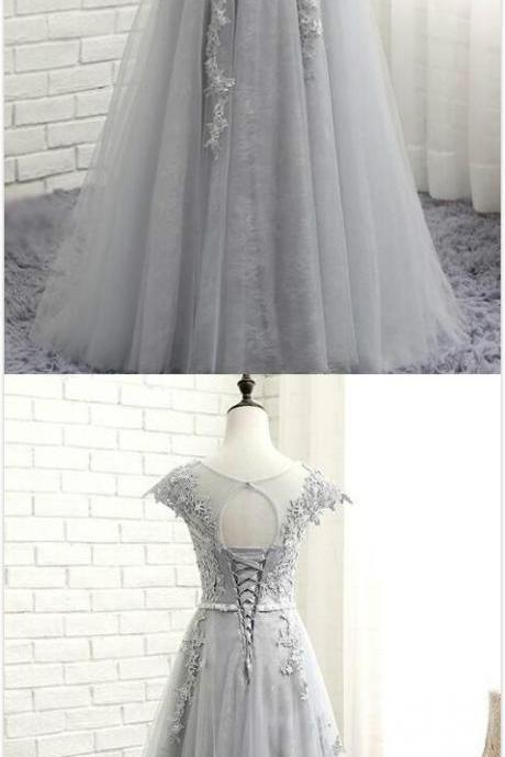 Gray Long Prom Dresses,Lace Applique Prom Gowns,Gray Evening Dresses, A-Line Evening Gowns, Cocktail Dresses Custom