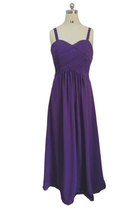 Long A-Line Purple Prom Dresses , Spaghetti Straps Chiffon Evening Gowns - Formal Gowns, Party Dresses