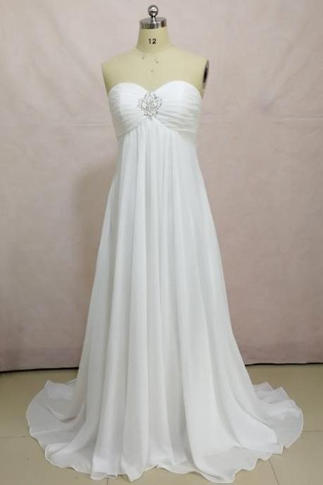 2018 Long Chiffon Beach Wedding Dresses ,Fast Shipping Beaded Sweetheart Wedding Gowns,Bridal Gown