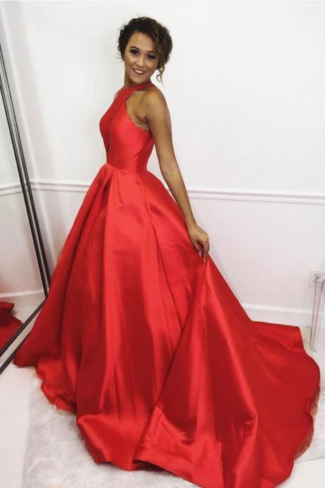 2018 Red Evening Dresses Halter Neckline Chapel Train Long Prom Dresses, Formal Gowns,Party Dresses,Red Carpet Dresses 2018