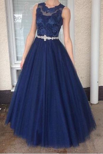 Long Elegant Tulle Navy Blue Prom Dresses With Beaded Belt And Sheer Neck,Evening Gowns