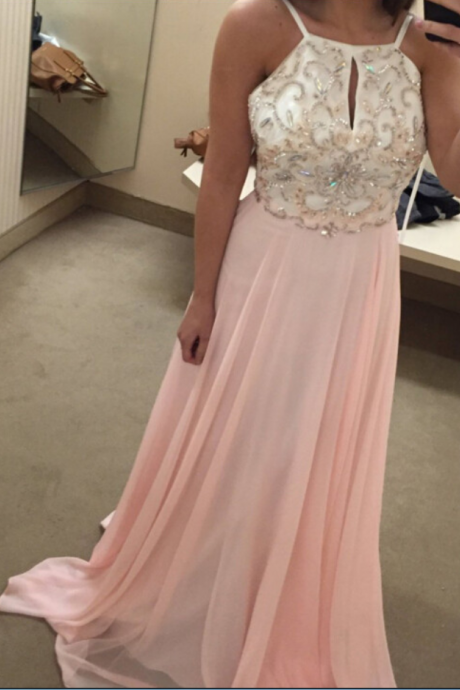 2018 Pink Beaded Evening Dresses Long Elegant Chiffon Scoop Neckline Prom Dress Formal Gowns