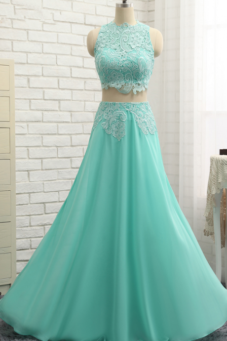 Prom Dress,Two Piece Prom Dress,A-line Prom Dresses,Long Elegant Prom Dress,Chiffon Prom Dresses,2018 Prom Dresses,Prom Dresses,Sexy Evening Dresses