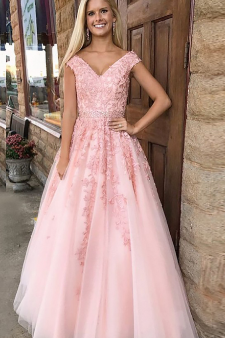 Charming Pink Tulle Bridesmaid Dress,Floor Length A Line Lace Applique Bridesmaid Dresses,Sexy Long Cheap Prom Dresses Party Evening Gown