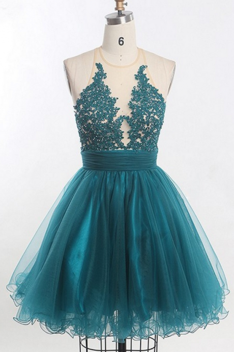 Custom Made Teal O Neckline Tulle Lace Applique Short Bridesmaid Dress
