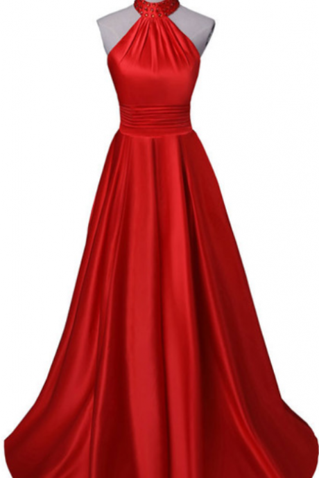 Sexy Halter Red Evening Dresses,Long Backless Prom Dresses