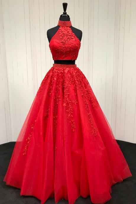 Sexy Red 2 Piece Prom Dresses With Halter Neck,Long Elegant Tulle Two Piece Evening Dresses