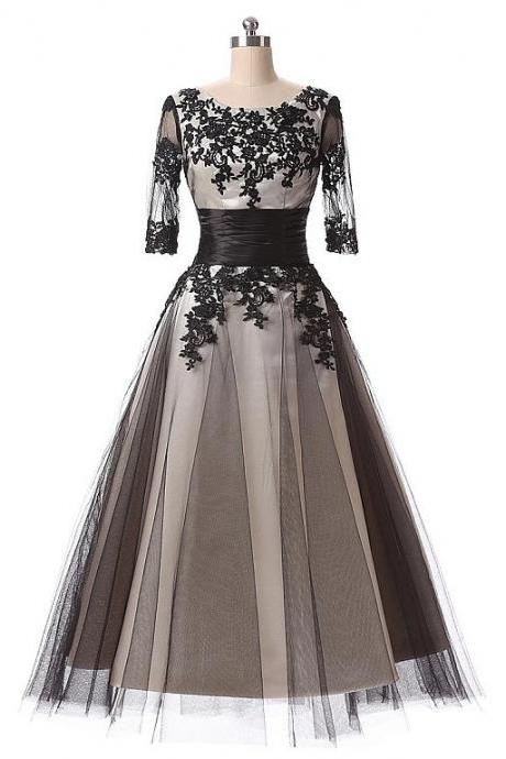 Charming Tea Length Prom Dresses Lace Applique Tulle Evening Gowns With Scoop Neck
