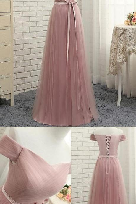 Blush Pink Tulle Prom Dresses Ruched Bodice Formal Gowns With Lace-up Back