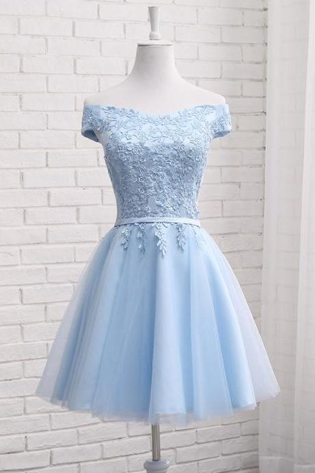 Light Blue Tulle Short Prom Dress , Graduation Dresses 2018,Short Party Dresses,Lace Applique Off The Shoulder Evening Dresses, Short Prom Dress 2018