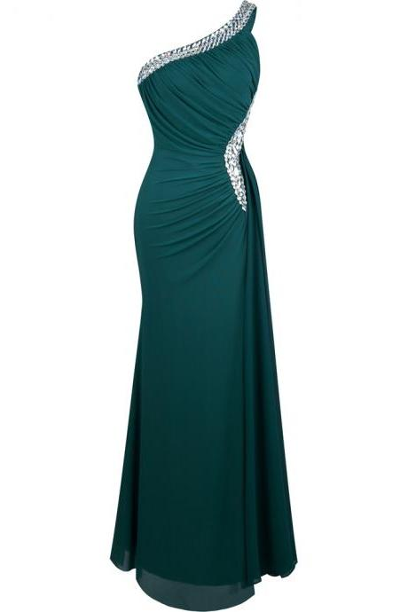 Teal Green Prom Dresses 2018 Long One Shoulder Backless Evening Gowns