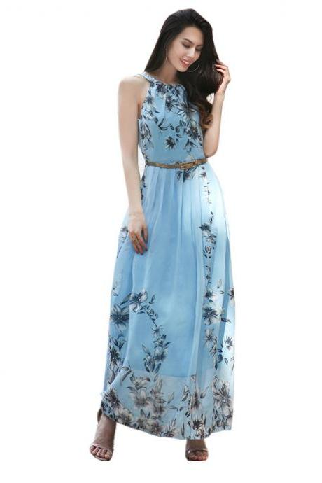 Light Blue Chiffon Half Sleeve Printed Floral Beaded Dresses With Halter Neckline