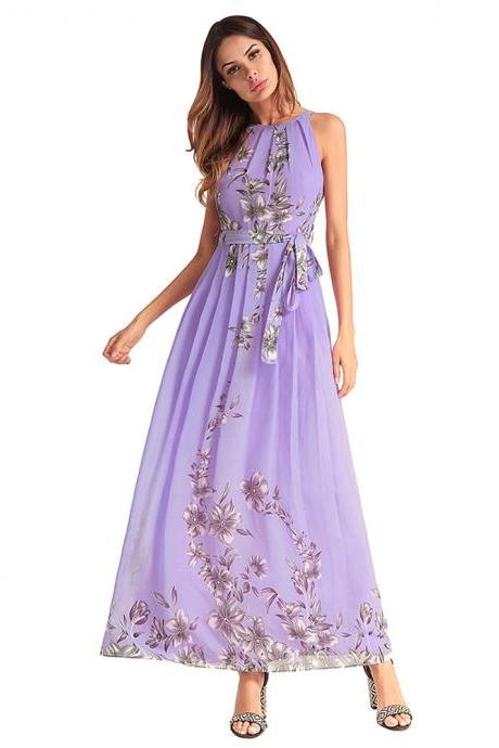 Purple Chiffon Half Sleeve Printed Floral Beaded Dresses With Halter Neckline