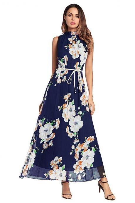 Fashion Navy Blue Chiffon Strapless Printed Floral Women Dresses,2018 New Arrival Maxi Dresses Beach Dress