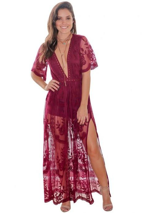 Sexy Half Sleeve Deep V Neck Lace Women Dresses With Side Split