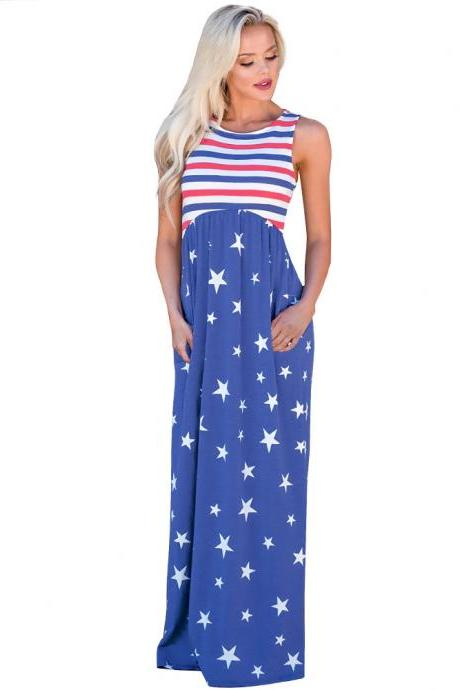 Strapless Long Star Stripe Printed Women Dress