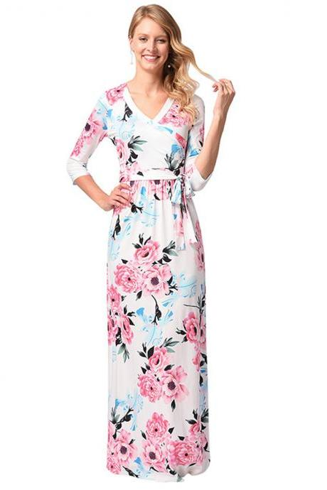Long Chiffon Rose Printed Floral Women Dresses With Half Sleeve And V Neck
