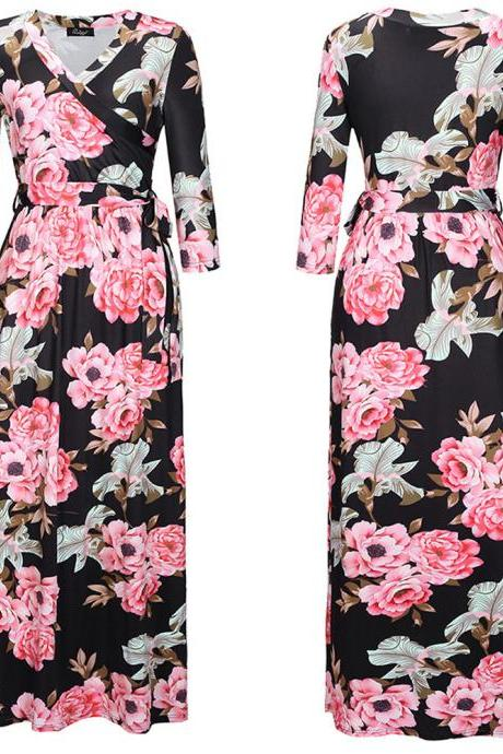 Black Chiffon Rose Printed Floral Women Dresses With Half Sleeve And V Neck