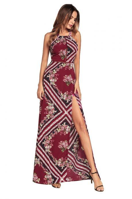 Long Boho Printed Floral Women Dresses With Side Split And Open Back