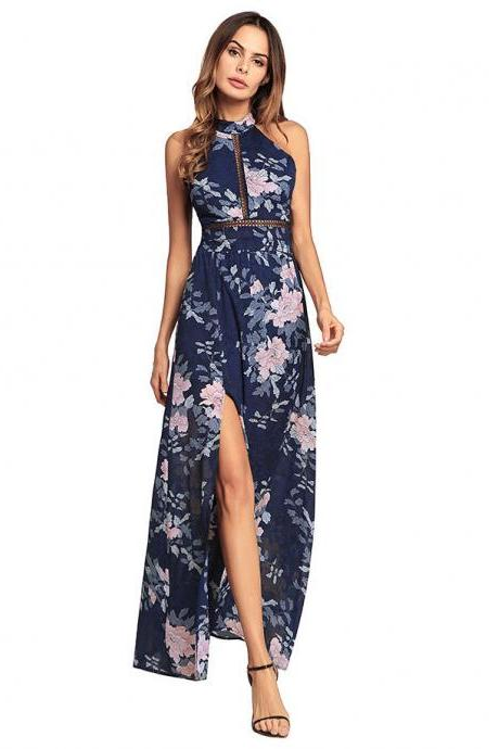 2018 New Arrival Long Chiffon Halter Backless Navy Blue Printed Floral Dresses With Side Split