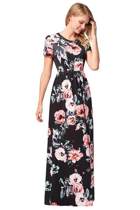 Long Black Printed Floral Dresses With O Neck And Short Sleeve
