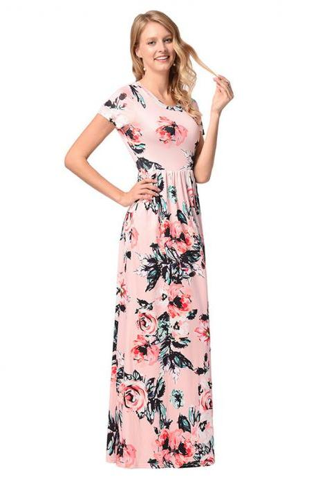 Long Pink Printed Floral Dresses With O Neck And Short Sleeve