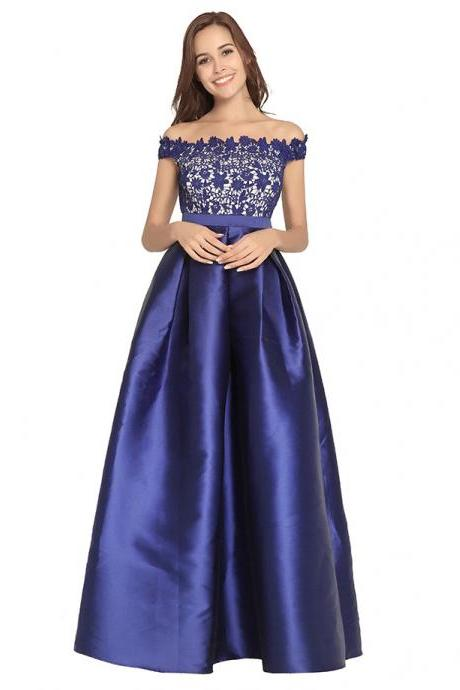 192649a46ca3 2018 Long Royal Blue Prom Dresses With Lace Top Satin Skirt Boat Neck  Formal Gowns