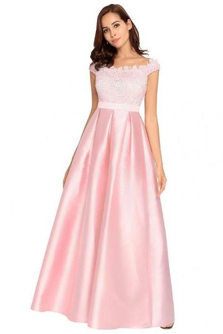 Elegant Pink Prom Dresses With Lace Top Satin Skirt Boat Neck Formal Gowns