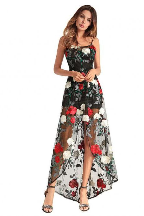 Elegant Long Spaghetti Straps Floral Dresses With Front Split