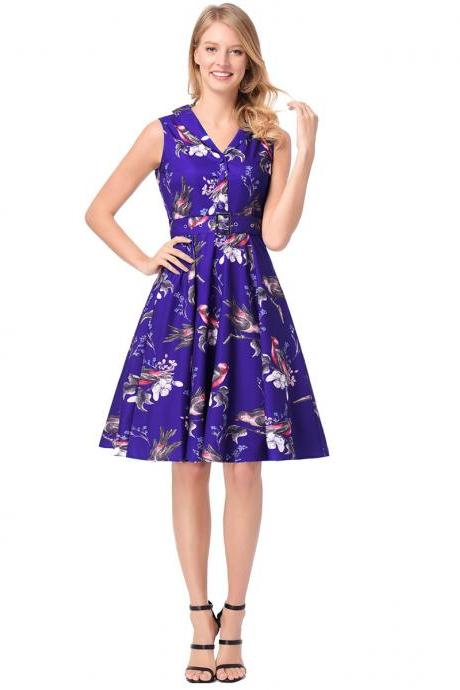 2018 New Arrival Strapless V Neck Knee Length Floral Casual Dresses