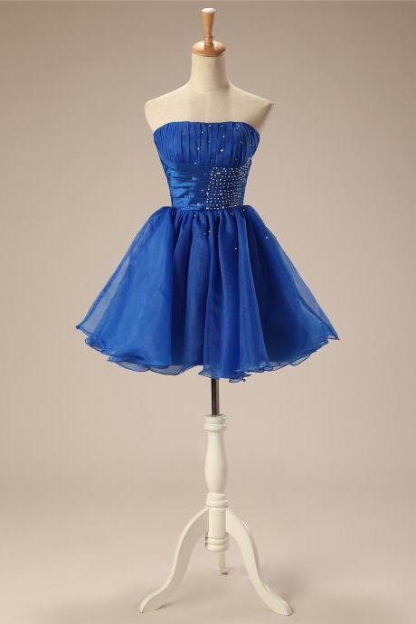 Homecoming Dress,Organza Homecoming Dresses,Beaded Short Homecoming Dresses, Short Party Dresses,Cocktail Dresses,Prom Gowns,Royal Blue Homecoming Dresses