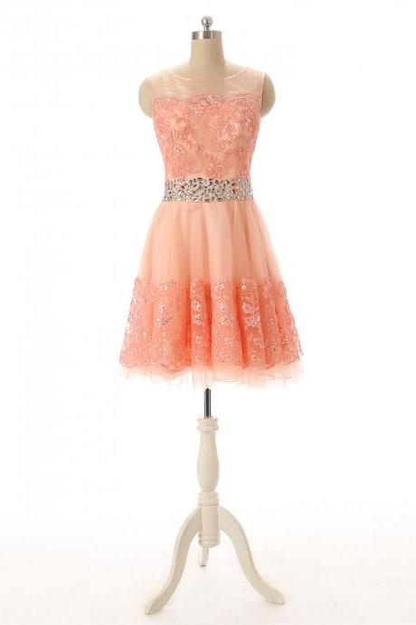 Crystal Strapless Coral Lace Applique Short Homecoming Dress With Sheer Neck