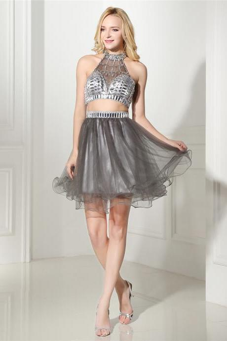 Sexy Tulle Beaded Strapless Halter Two Piece Short Homecoming Dress