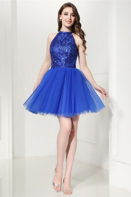 Elegant Beaded Royal Blue Tulle Short Homecoming Dresses With Halter Neck,Short Tulle Party Dresses