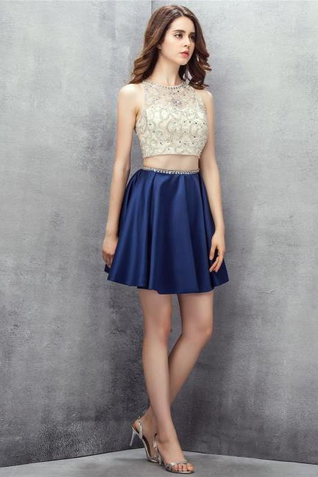 Fashion Beaded Navy Blue Satin Short 2 Piece Homecoming Dresses With Halter Neck,Short Prom Dresses