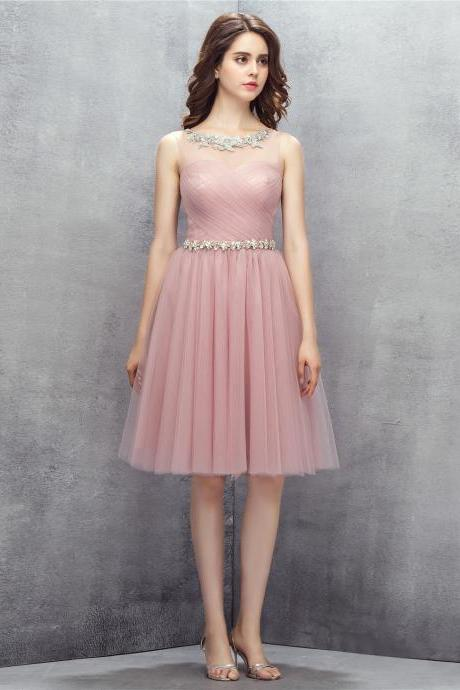 Fashion Blush Pink Short Homecoming Dresses With Sheer Neck,Short Prom Dresses