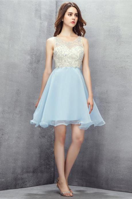 Sexy Backless Light Blue Beaded Short Homecoming Dresses With Sheer Neck,Short Prom Dresses
