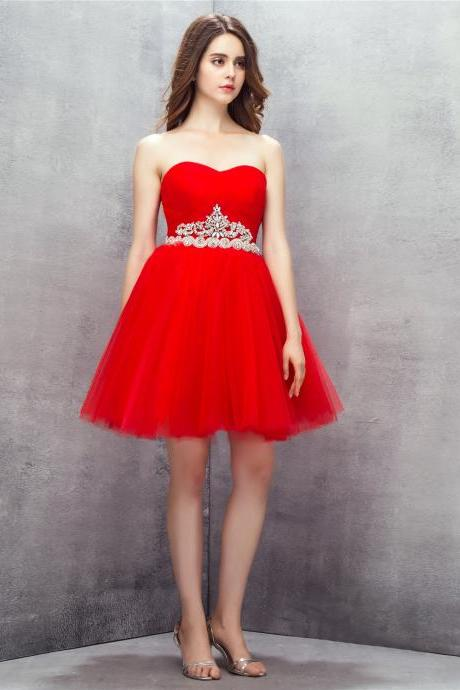 Cute Red Beaded Short Homecoming Dresses With Sweetheart Neck,Short Prom Dresses 2018