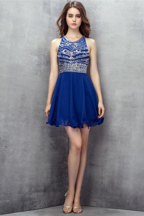 Royal Blue Blue Beaded Chiffon Short Homecoming Dress, Cocktail Dress, Party Dress