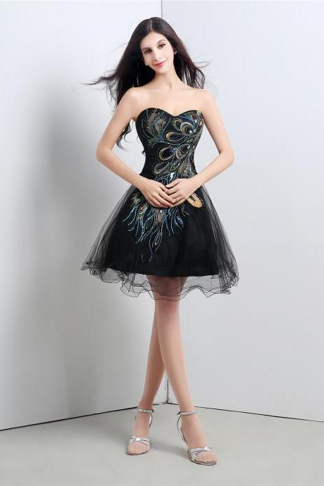 Black Embroidery Tulle Short Homecoming Dress With Sweetheart Neck, Cocktail Dress, Party Dress,Little Black Dress