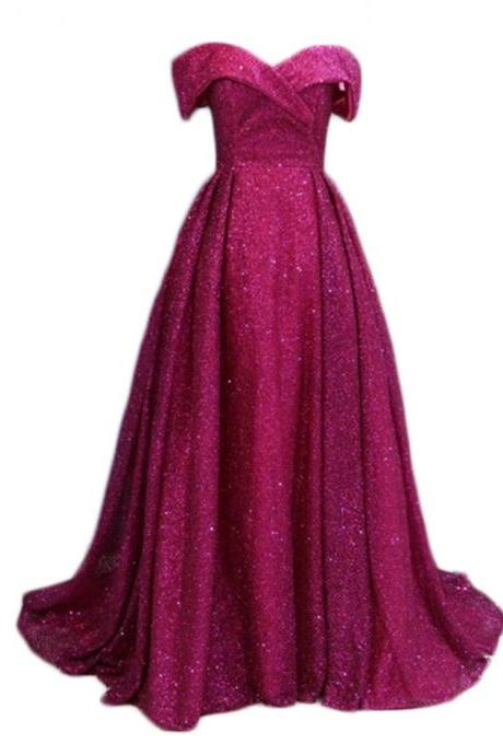 Fashion Dubai Arabic Prom Dresses Fuschia Bling Evening Gowns 2018 Long Elegant Sequins Formal Party Dress