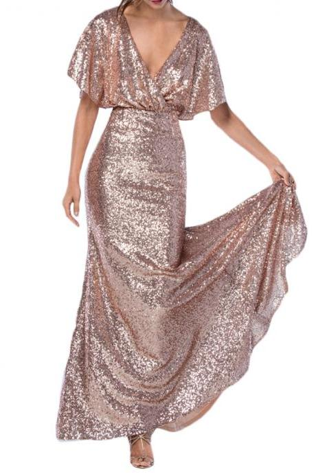Sexy Cap Sleeve Pink Gold Prom Dresses V Neck Backless Mermaid Evening Gowns 2018 Floor Length Sequin Formal Party Dress
