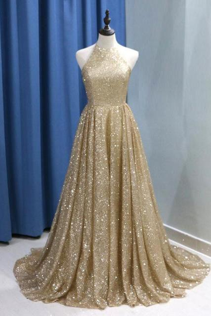 Sparkly Gold Evening Gown Sequin A Line Prom Dresses 2018 Long Elegant Sequin Formal Party Dress
